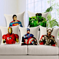 Wholesale Cushions For Sofa Red - American TV Series the Avengers Cushion Cover Geometric Superman Iron Man Pillow Cover Cotton Linen Cushion Pillow Cases for Bedroom Sofa