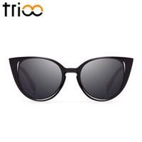 Wholesale Sunglasses Insert - Wholesale-TRIOO Luxury Inserted Frame Brand Sunglasses Women Cat Eye Chic Sun Glases Female Geometric Shape Shades High Quality Lunette