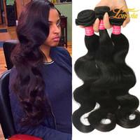 precios de extensiones de cabello negro al por mayor-Precio de fábrica Extensión del pelo de la onda del cuerpo peruano Natural Negro 1B paquetes de cabello 8-26 pulgadas 100% cabello humano que teje envío gratis