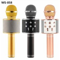 Wholesale Wireless Microphone Speaker For Pc - WS-858 Wireless Speaker Microphone Portable Karaoke Hifi Bluetooth Player WS858 For iphone 6 6s 7 ipad Samsung Tablets PC better than Q7 Q9
