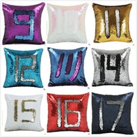 Wholesale Covers For Sofas - Magic Mermaid Sequins Pillow Case Sequin Cushion Covers Change Color Pillowcases Pillow Cover for Car Sofa Room Car Home Decoration DHL