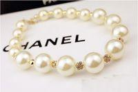 Wholesale cz fashion jewellery - hot sale Wholesales designer jewelry big pearl necklace fashion Beaded CZ diamond Necklaces jewellery, free shipping