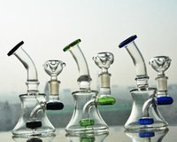 Wholesale Shisha Glass Pipes - Clear Mini Pocket Glass Bongs Recycler Oil Rigs Glass water Pipes Smoking Pipe Free Shipping Bong Hookahs Shisha 14mm joint 6 inches tall