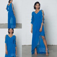 Wholesale Bride Low Mother - Royal Blue Plus Size Cheap Mother of the Bride Dresses 2017 A Line V Neck Long Chiffon High-Low Simple Formal Evening Party Gowns