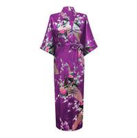 Wholesale Silk Plus Size Kimono Robe - Wholesale- Hot Sale Purple Mujer Pijama Chinese Women's Long Robe Kimono Bath Gown Silk Rayon Sleepwear Plus Size S M L XL XXL XXXL Zh01E