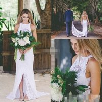 Wholesale Halter Lace Mermaid Wedding Gowns - Vintage Mermaid Wedding Dresses Halter Neck Bohemia Bridal Gown Full Lace Side Split Custom Made Wedding Gowns