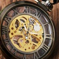 Wholesale Mechanical Vintage Pocket Watches - Wholesale-Vintage Bronze Silver Golden Glass Case Hollow Roman Number Skeleton Steampunk Hand-Wind Mechanical Pocket Watch Hot Selling