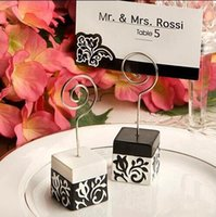 Wholesale Black White Place Cards - Black and white and decorative pattern place card holder Resin message Memo holder The new arrivel wedding gift