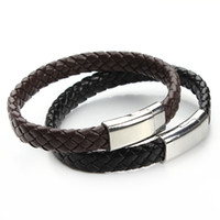 Wholesale Magnetic Clasps For Leather Braids - Wholesale-2016 New Handmade Black & Brown Genuine Braided Leather Bracelet Magnetic Clasps Bracelets & Bangles for Men Pulseiras F2890B