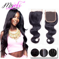 Barato Fechamento Da Parte Do Meio 4x4-Brazilian Virgin Human Hair Weave Closures Body Wave Straight Natural Black 4x4 Lace Closures Three Middle Free Part 6-22 Inches Ms Joli