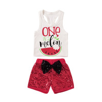 Wholesale tutu tank tops - Mikrdoo Summer Fashion Sport Suit Baby Girls Boys One A Melon White Tank Top Red Short Bow Pants Clothing Set Watermelon Kids Clothes
