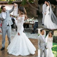 Wholesale Romantic Country Style - Romantic Lace Wedding Dresses With Long Sleeve Vintage Mermaid Bridal Dress Sheer Neckline 2017 Country Style Bohemian Wedding Gowns