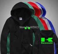 Wholesale Man Fleece Suit For Winter - Wholesale-for man and woman Kawasaki sweatshirt motorcycle off-road race suits fleece jacket zipper coats for fall and winter clothes