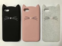 Wholesale 3d Silicone Phone Cases Wholesale - For iphone 5 6 Phone Cases Shell 3D Bearded Cat Silicone Soft Cover for iPhone 7 i7 Bag funda