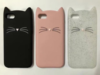 fundas de silicona para iphone al por mayor-Para el iphone 5 6 cajas del teléfono cubierta suave del silicón del gato barbudo de Shell 3D para la funda del bolso del iPhone 7 i7