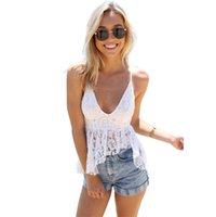 Wholesale Tops Plunging Necklines - Wholesale-2016 tank top women Fashion Camisole Top Floral Lace Plunge V Neckline Asymmetric Hem Spaghetti Straps Top White