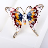 Wholesale Large Butterfly Clips - Wholesale- 2017 Butterfly Brooches Lapel Pin Rhinestone Enamel Scarf Clip Buckle Large Broche Women Collar Christmas Fashion Jewelry Gift