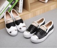Wholesale Black Studded Platforms - Europe Style Ladies Studded Spiked Shoes Round Toe Creepers Lazy Shoes Fashion Zapatillas Mujer Casual Platform Shoes,size35-40