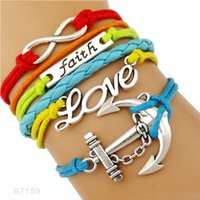 (10 Pieces / Lot) Alta qualidade Infinity Love Faith Ancora Charm Suede Leather Wrap Braceletes para Mulheres Men Gifts Jóias Drop Shipping