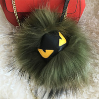"Wholesale Real Fur Handbags - 18cm 7"" Dark green Real raccoon Fur Monster yellow eyes Bug bag Charm Ball Pompom Keychain Holder Backpack Tassel Pendant Handbag"