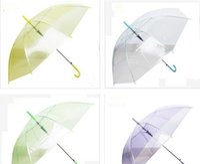 Wholesale Pink Steel Photos - Hot Sell DHL freeshipping Transparent Clear EVC Umbrella Long Handle Rain Sun Umbrella See Through Colorful Umbrella Rainproof Wedding Photo