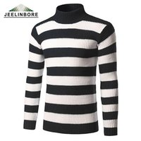 Wholesale mens thin turtleneck - Wholesale- 2016 Winter Thick Warm Striped Pullover Sweater Men Turtleneck Brand Mens Sweaters Slim Fit Pullover Men Knitwear Double collar