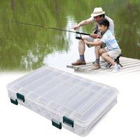 Wholesale Tackle Storage Boxes Plastics - Wholesale- Double Sided Fishing Lure Storage Box Bait Hooks Tackle Waterproof Case Organizer Container Portable Plastic 19.5*16.5*4.8 cm