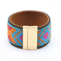 Wholesale Brazilian Gold Jewelry - Wholesale- Bohemian Beads Wide Leather Bracelet Magnetic Buckle Bracelet Women Wrap Charm Boho Brazilian Bracelets Bangles Men Jewelry