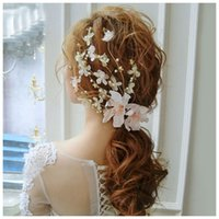 Wholesale flower hair clips for girls - Fashion Romantic Wedding Hair Accessories Lace Flowers Pearl Beads Alligator Hairpin Hair Clip For Women Girls Bridal