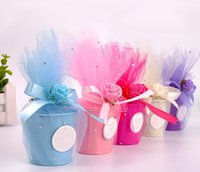 Wholesale Tinplate Wedding Candy Boxes Wholesale - European style wedding supplies candy box DIY Tinplate gauze small iron bucket 4 color creative wedding decoration