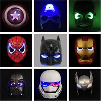 Wholesale Iron Man Led Flash - High Quality LED Mask LED Film Mask American Superhero Iron Man Hulk Captain America Spider-Man Mask Glow Flash Halloween Children