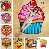 Wholesale 11 Styles cm Round Beach Towel Pizza Hamburger Skull Ice Cream Smiley Pineapple Watermelon Round Shower Towel Blanket Shawl