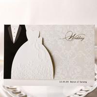 sobres de boda para imprimir gratis al por mayor-Tarjetas de invitaciones de la boda del estilo de la novia y del novio al por mayor, invitación imprimible, con el sobre, envío libre, 50pieces / lot,
