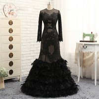 Wholesale Lavender Sequin Feather Dress - Elegant Black Mermaid Feather Evening Dresses 2017 See Through Applique Lace Evening Gowns Long Sequins Prom Dresses Celebrity Gowns Sexy