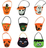 Wholesale Halloween Lantern Bags - 17*15*6Cm Halloween Bags Candy Pumpkin Bag Pumpkin Shape Bags Portable Pouch Portable Pumpkin Lantern For Halloween Easter
