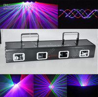 Wholesale Dmx Laser Purple - LLFA3106 RGBP 650mW Four Tunnel 4 Lens Red Green blue Purple DMX Beam Laser Light stage Lighting DJ party