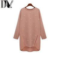 Wholesale Pink Pearl Sweaters - Wholesale-DIV High Quality Women Pearl Pullovers Sweaters O-Neck Full Sleeve Black And Pink 2 Kind Color Femme Sweaters Plus Size S-XL