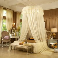 Wholesale Elegant Lace Bedding Hung Princess Romantic Bed Mosquito Netting Mesh Canopy Princess Round Dome Bedding