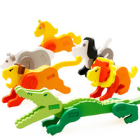 Wholesale Kid Toy Animal Jigsaw - 18styles Kids 3D Cartoon Animal Wooden Puzzles Baby Infants colorful Wood jigsaw intelligence toys Children's great gifts EMS DHL free