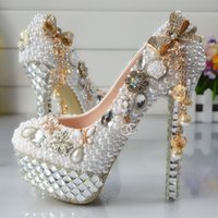 Wholesale Hand Made Shoes - Luxurious Rhinestones Cinderella Shoes Prom Evening High Heels Beading Rhinestones Bridal Bridesmaid Hand-made Wedding Shoes 197