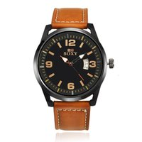Wholesale Wholesale Watchband Buckles - Mens Sports Watch Quartz Watches Clock Wristwatch Brown Leather Watchband KANINO Brand WH0100-D WH0102-D WH0101-D