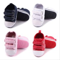 Wholesale Shose Kids - Wholesale- Baby Shoes New Fashion Kids Boys Girls Classic Sports Prewalker Newborn Canvas First Walker Soft Running Shose Anti Slip Sneaker