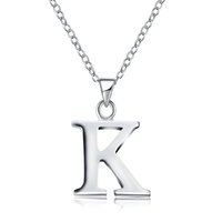 Wholesale Initial L - English Letters 925 Silver Plated Women's Necklace Pandants Necklace Link Chains 45cm Length A C D E F H I J K L