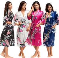 Wholesale Ladies Night Gowns - Hot Sale Satin Robe Women Sexy Kimono Knee Length V Neck Female Silk Bathrobe Half Sleeve Ladies Peignoir Floral Dressing Gown Night Dress