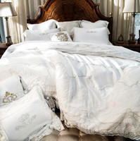 Wholesale- French 800TC Satin Broder / Mariage / Luxe / Dentelle / High-end 60s Coton Égyptien Literie Literie Set Duvet Cover Literie