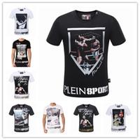 Wholesale T Shirt Color Skull - 2017 new brand Skull t shirt men printing hip hop t-shirt Summer Business Men's t-shirts fashion PP Short Sleeve top&tees sports