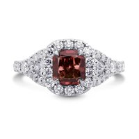 Wholesale Platinum Diamond Halo Ring - 1.62Cts Red Diamond Engagement Halo Ring Set in Platinum GIA Certificate