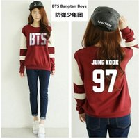 Wholesale Supporting Letter - Wholesale- Kpop bts Bangtan Boys Long sleeve hoodies women bts 2016 printed epilogue fans support or neck sweatshirt plus size tracksuits