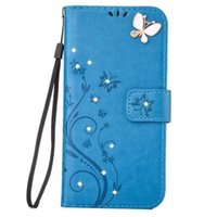 Wholesale Huawei Ascend 3d Cases - 3D Diamond Bling Flower Wallet Leather Pouch Case For Huawei Ascend P9 P8 Lite 2017 Y5 Y6 II Galaxy S8 Strap Butterfly Card Stand TPU Cover