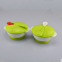 Wholesale Gravity Bowl - 2017 Baby Sucker Bowl Spoon Set Tableware Dishes Gravity Bowl Slip-Resistant Wall Suction,Ears Covered With Spoon,Training Bowl A4